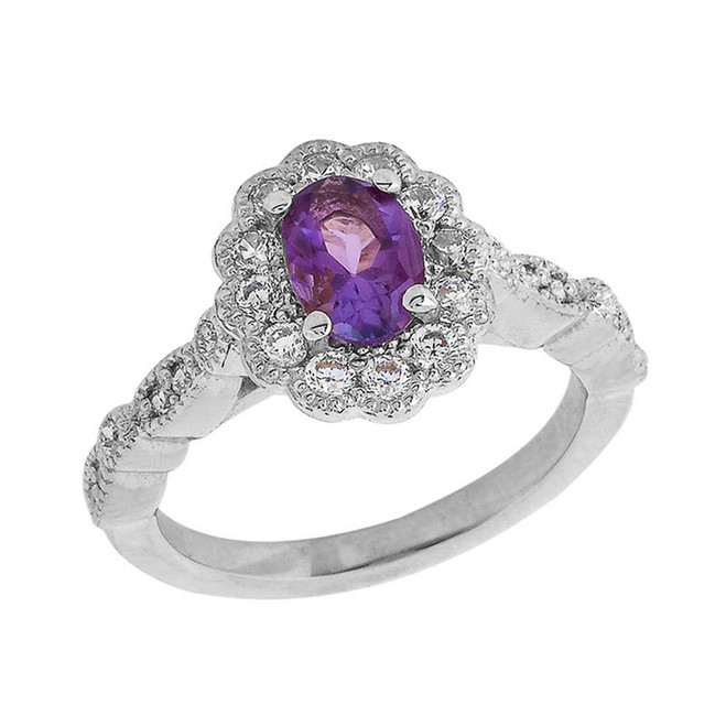 Vintage Style Genuine Amethyst Ring in Sterling Silver
