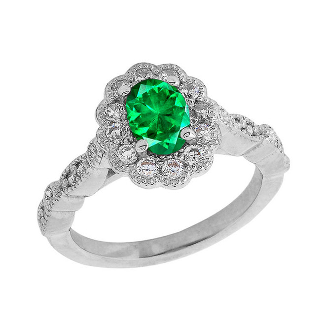 Vintage Style May Birthstone Ring in Sterling Silver