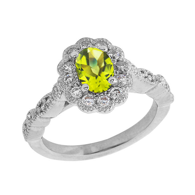 Vintage Style Genuine Peridot Ring in Sterling Silver