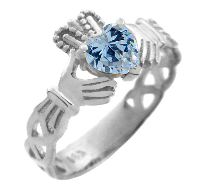 White Gold Claddagh Trinity Band with Aquamarine Blue CZ Heart