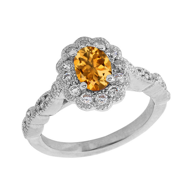 Vintage Style Genuine Citrine Ring in Sterling Silver