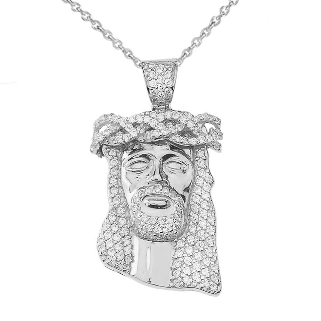 Cubic Zirconia Jesus Pendant Necklace in White Gold