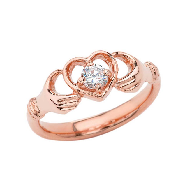 .20 CT Diamond Classic Claddagh Ring in Rose Gold