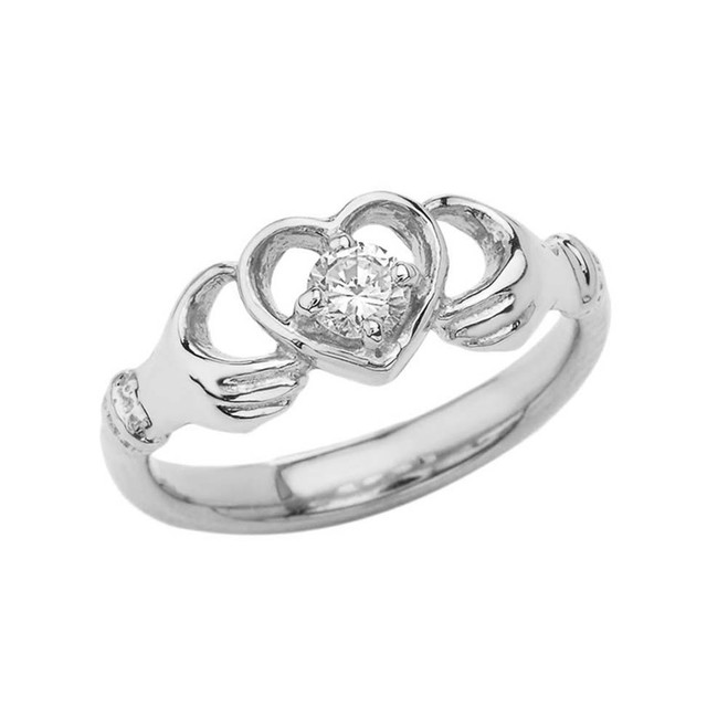 .20 CT Diamond Classic Claddagh Ring in White Gold