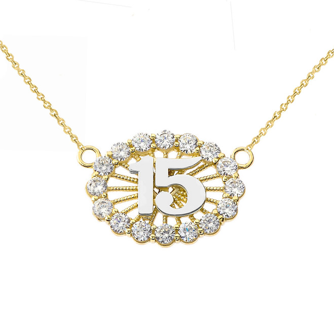 15 Quinceañera Necklace in 14K Two Tone Yellow & White Gold