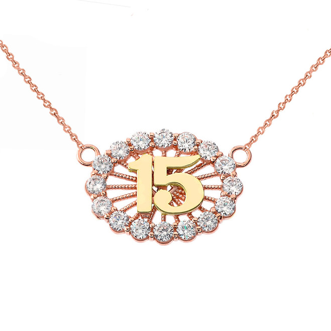 15 Quinceañera Necklace in 14K Two Tone Rose & Yellow Gold