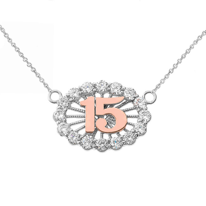 15 Quinceañera Necklace in 14K Two Tone White & Rose Gold