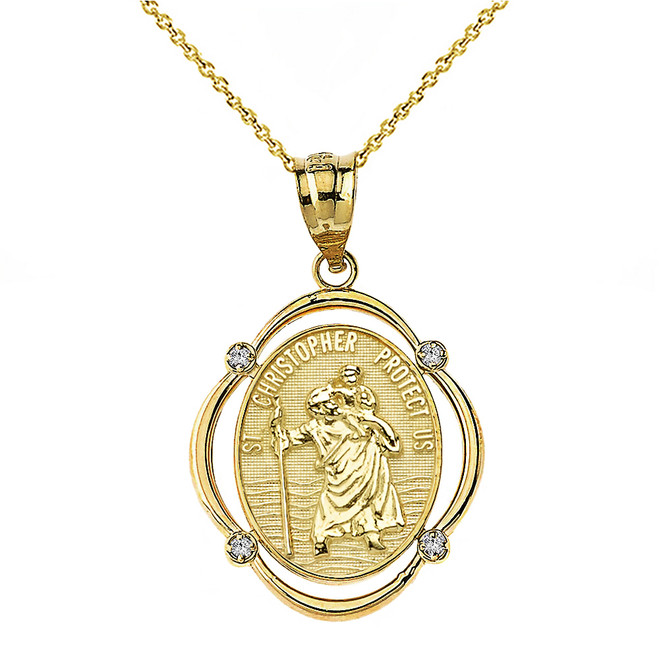 Solid Yellow Gold Saint Christopher Protect Us Diamond Oval Frame Pendant Necklace