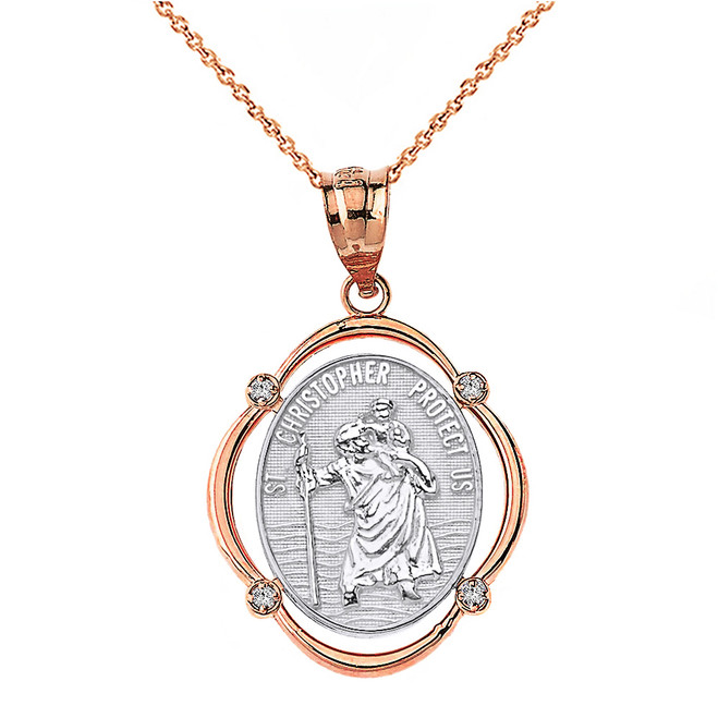 Solid Two Tone Rose Gold Saint Christopher Protect Us Diamond Oval Frame Pendant Necklace