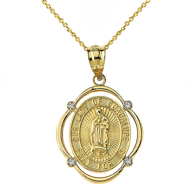 Solid Yellow Gold Our Lady of Guadalupe Pray For Us Diamond Oval Frame Pendant Necklace