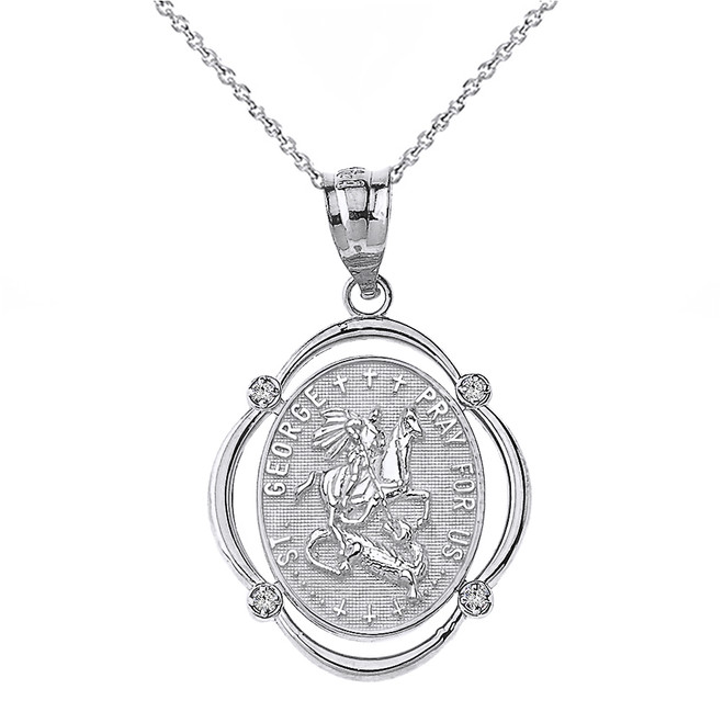 Solid White Gold Saint George Pray For Us Diamond Oval Frame Pendant Necklace