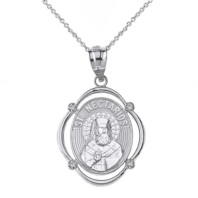 Sterling Silver Saint Nectarios CZ Oval Frame Pendant Necklace