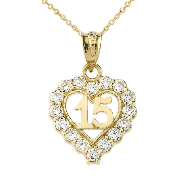 15 Quinceañera Heart Necklace in Yellow Gold