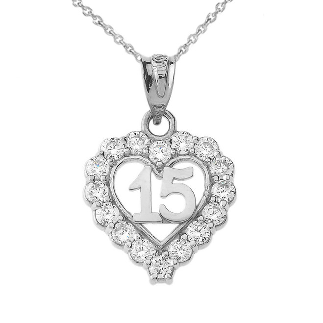 15 Quinceañera Heart Necklace in White Gold