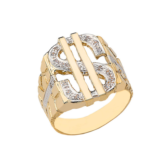 Bold Dollar Sign Diamond Nugget Ring in Yellow Gold