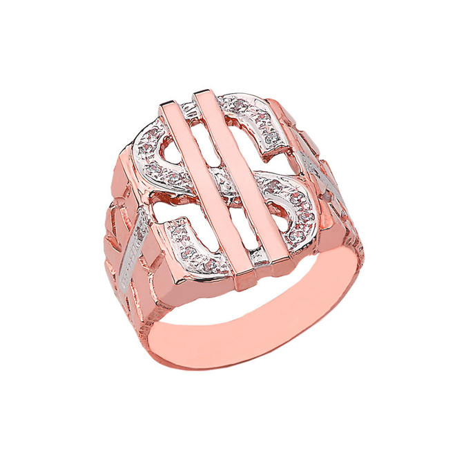 Bold Dollar Sign CZ Nugget Ring in Rose Gold