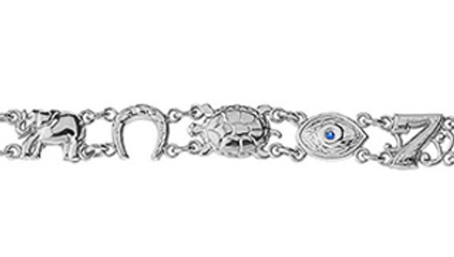 Lucky Bracelet with Blue Evil Eye in White Gold