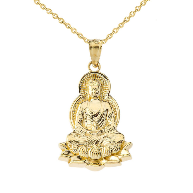 Buddha in Lotus Flower Pendant Necklace in Yellow Gold