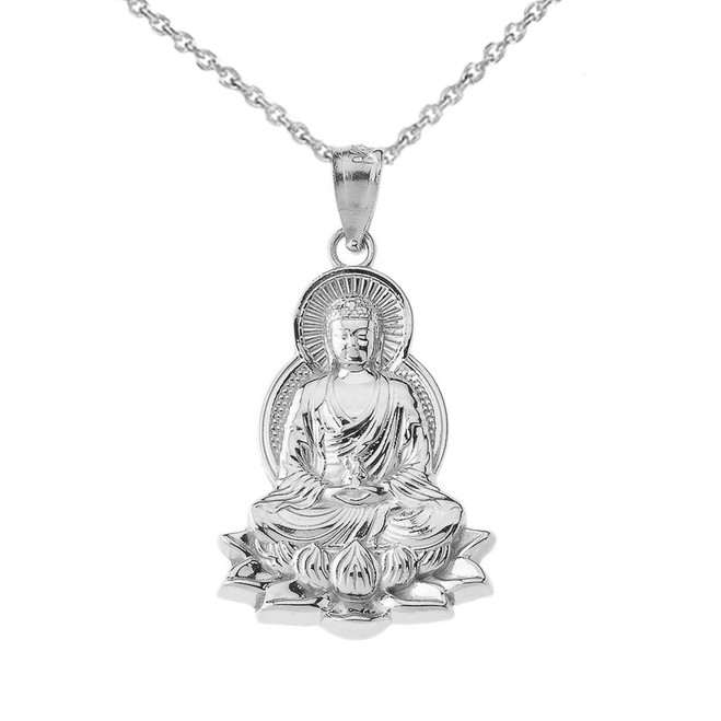 Buddha in Lotus Flower Pendant Necklace in Sterling Silver
