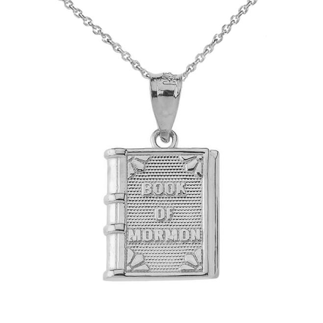 Book of Mormon Pendant Necklace in White Gold