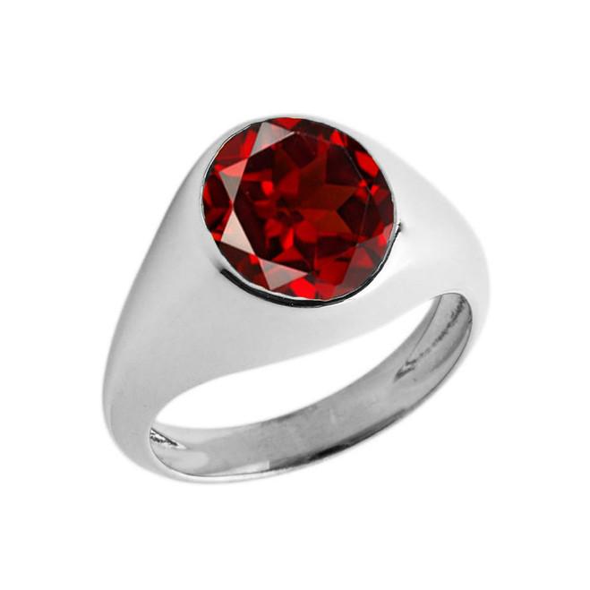 January Birthstone Gentleman's Pinky Ring in Sterling Silver