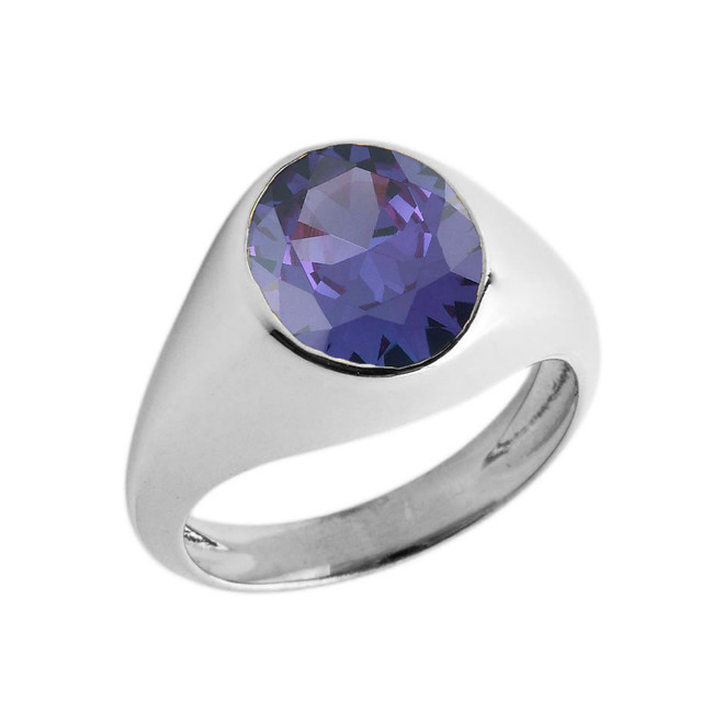 February Birthstone Gentleman's Pinky Ring in Sterling Silver