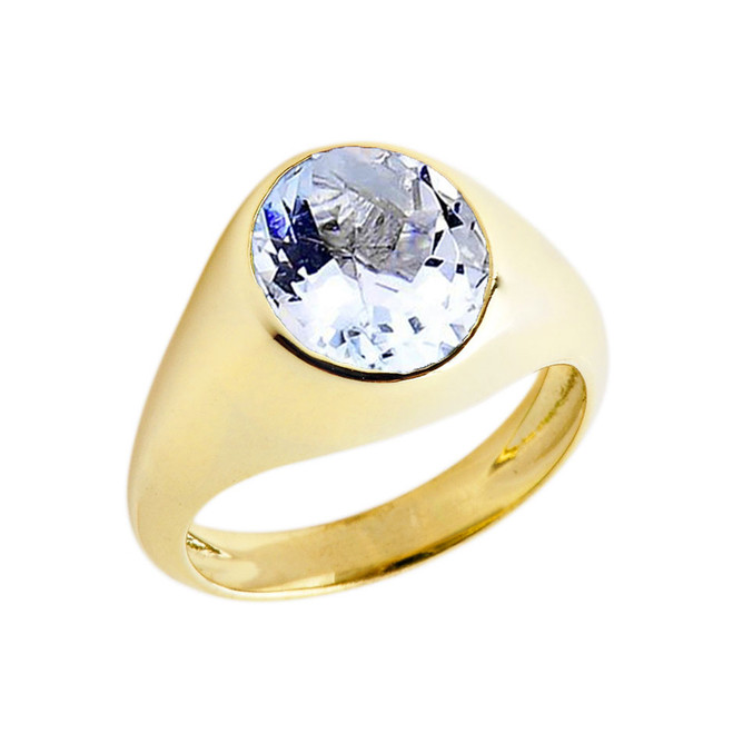 March Birthstone Gentleman's Pinky Ring