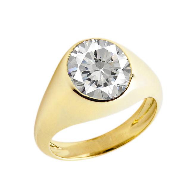 April Birthstone Gentleman's Pinky Ring