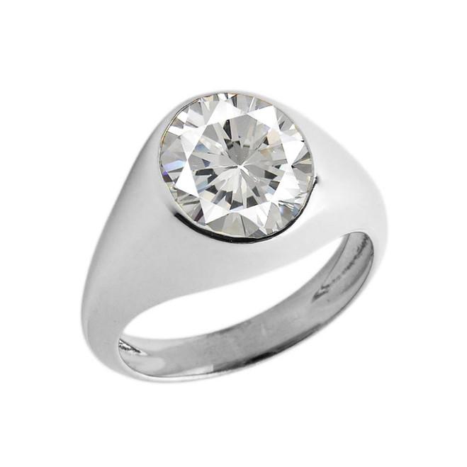 April Birthstone Gentleman's Pinky Ring in Sterling Silver