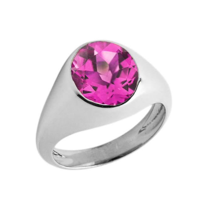 June Birthstone Gentleman's Pinky Ring in Sterling Silver