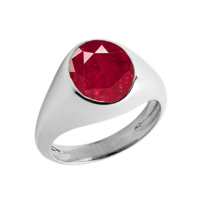 Ruby Birthstone Gentleman's Pinky Ring in Sterling Silver