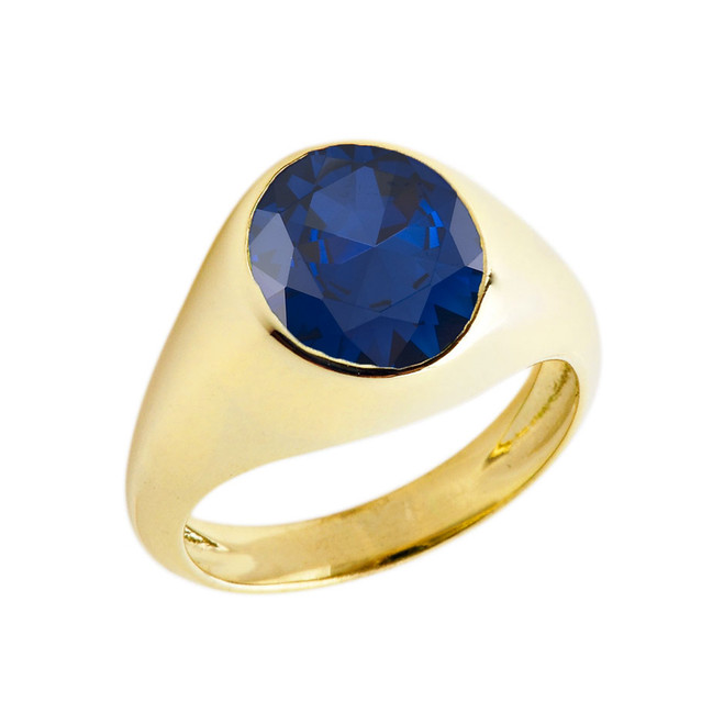 September Birthstone Gentleman's Pinky Ring