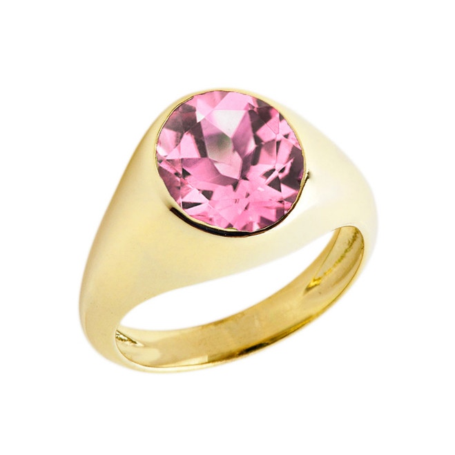 October Birthstone Gentleman's Pinky Ring