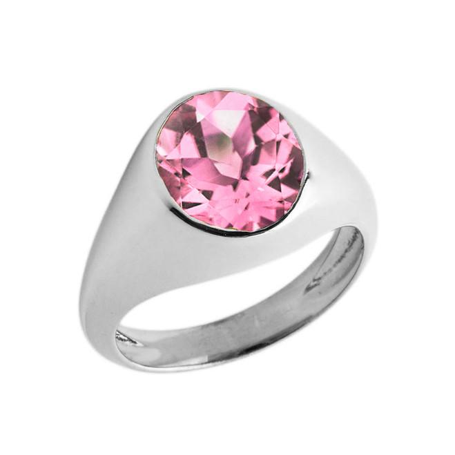 October Birthstone Gentleman's Pinky Ring in Sterling Silver