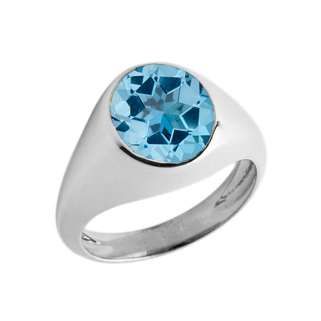 December Birthstone Gentleman's Pinky Ring in Sterling Silver