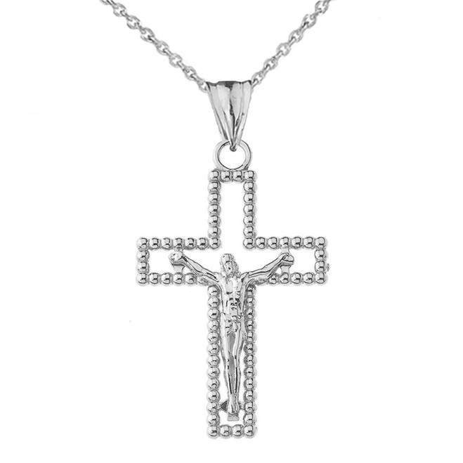 Beaded Open Crucifix Cross Pendant Necklace in White Gold