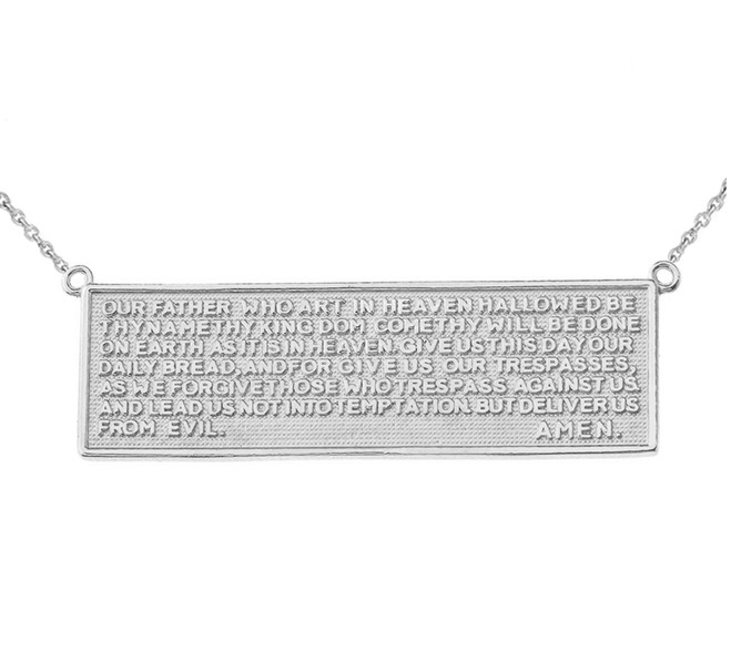 Two Sided The Lords Prayer and Cross Bar Necklace in 14K White Gold