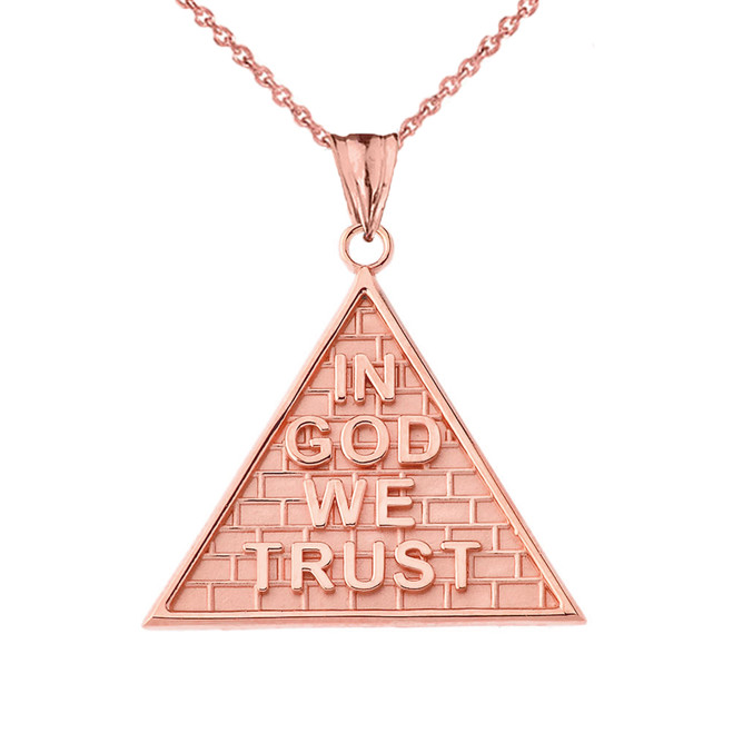 """In God We Trust"" Pyramid Pendant Necklace in Rose Gold"
