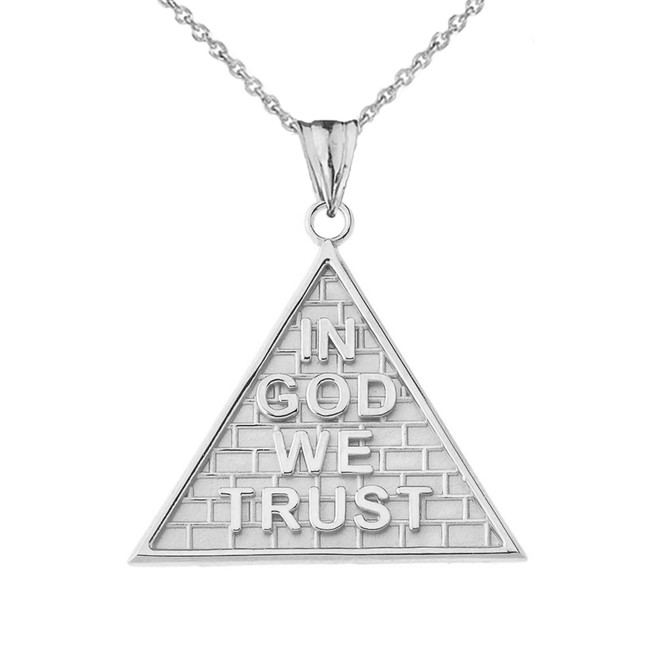 """In God We Trust"" Pyramid Pendant Necklace in White Gold"