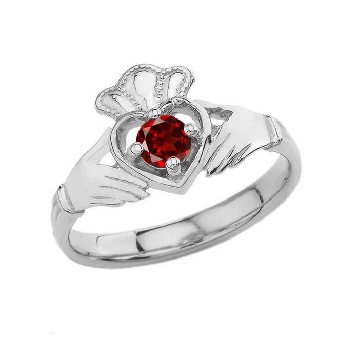 January Birthstone Claddagh with Crown Ring in Sterling Silver