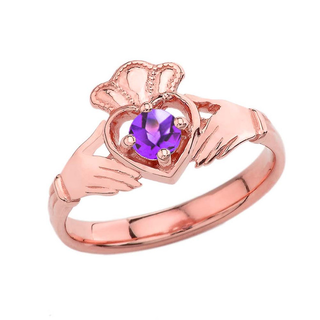 February Birthstone Claddagh with Crown Ring in Rose Gold