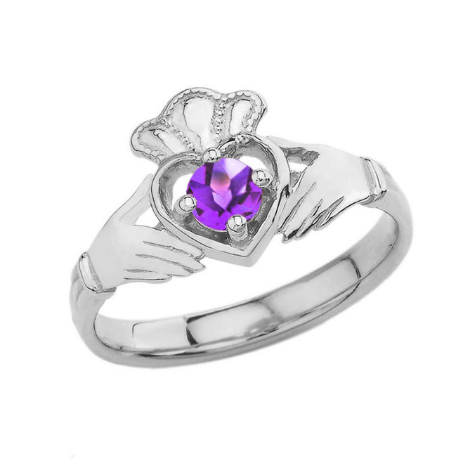 February Birthstone Claddagh with Crown Ring in White Gold