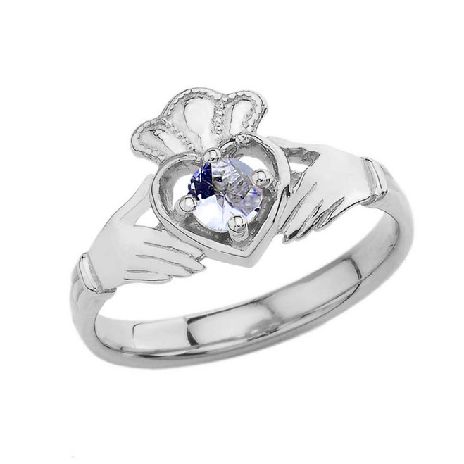 March Birthstone Claddagh with Crown Ring in White Gold