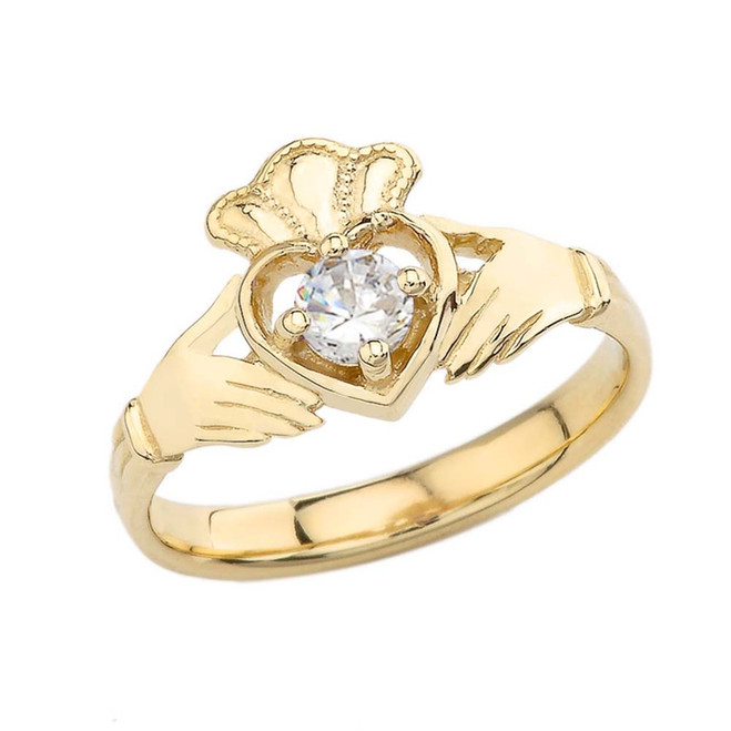 April Birthstone Claddagh with Crown Ring in Yellow Gold