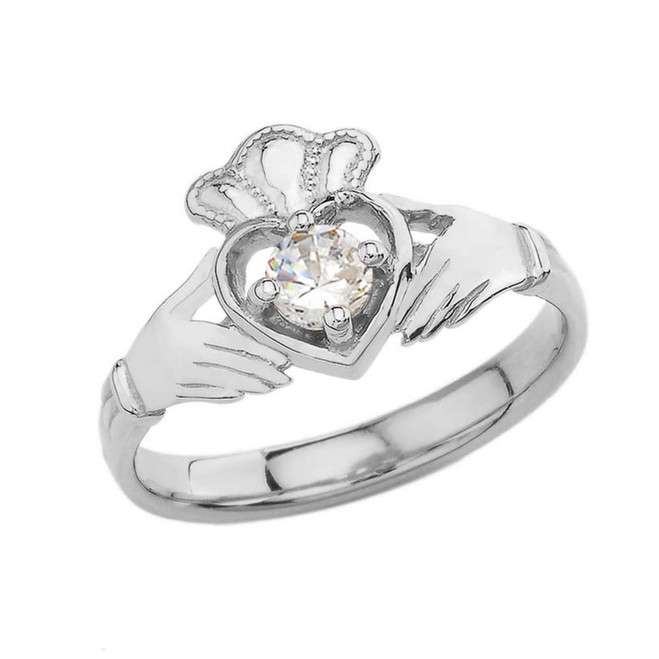 April Birthstone Claddagh with Crown Ring in White Gold