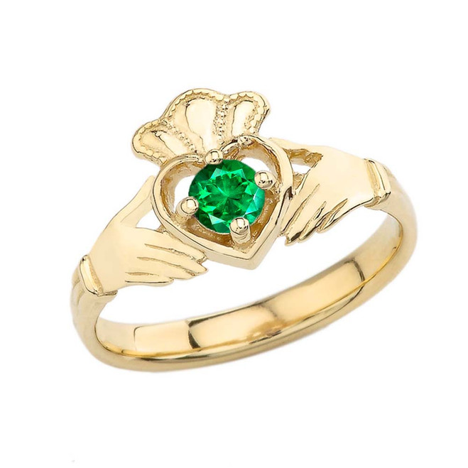 May Birthstone Claddagh with Crown Ring in Yellow Gold