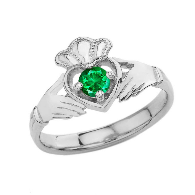 May Birthstone Claddagh with Crown Ring in White Gold