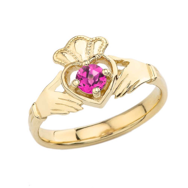 June Birthstone Claddagh with Crown Ring in Yellow Gold