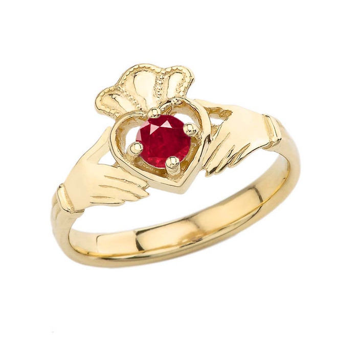July Birthstone Claddagh with Crown Ring in Yellow Gold