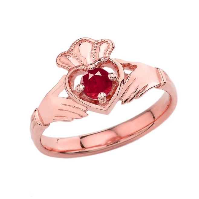 July Birthstone Claddagh with Crown Ring in Rose Gold